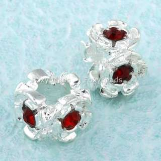 Silver Plated Crystal BIG Hole European Bead Fit Charm Bracelet