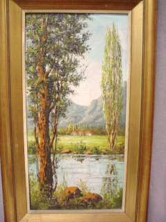 Great old oil on canvas landscape painting # 07444