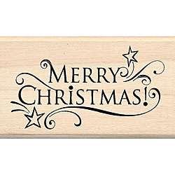 Inkadinkado Merry Christmas Wood mounted Rubber Stamp