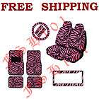 Pink Zebra Tiger Seat Covers Steering Wheel Cover Floor Mats & More