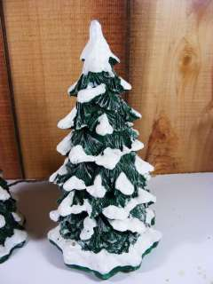 Lighted Snow Capped Pine Trees 2 Snow Village Dept 56