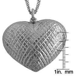 Sterling Silver Puffed Diamond cut Heart Necklace