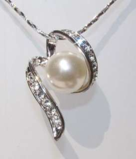 White Gold Plated,Swarovski, Pendants Pearl Necklace