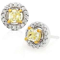 Gold 1ct TDW Fancy Yellow Diamond Earrings (VS1 I2)