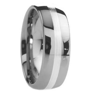 Tungsten Carbide Rings Wedding Bands Round Shape with Silver Inlay