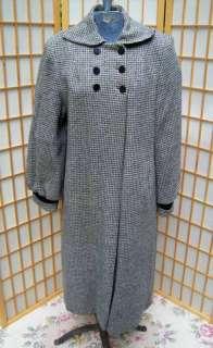 VTG 40S 50S WOMENS BLACK GRAY WOOL & VELVET SWING COAT