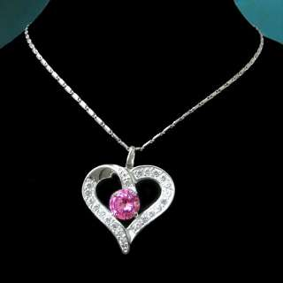 best silver pink CRYSTAL heart pendant necklace