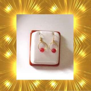 gold plated 15mm hoop earring with genuine jade gemstone bead red