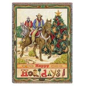 Western Cowboy Christmas Throw Blanket