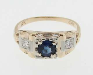 Vintage Estate Natural Blue Sapphire Diamonds Solid 14k Gold Ring