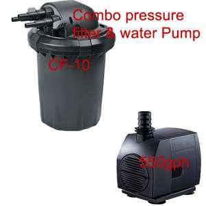 Aquatop pond uv sterilizer bio pressurized filter w pump for Pond filter pump combo