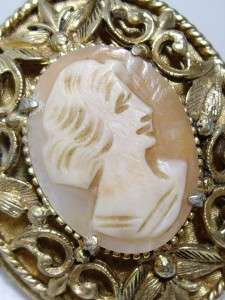 Large Vintage Gold Tone Carved Shell Figural Cameo Locket Pendant 1 3