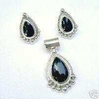 Sterling Silver .925 BLACK ONYX PENDANT EARRING Set NEW