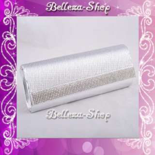 Metallic Silver Rhinestones Clutch Bag Handbag Evening Prom Party