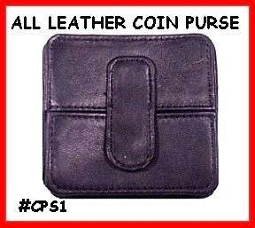 BLACK SQUARE Leather COIN PURSE Pocket Wallet FREE SHIP