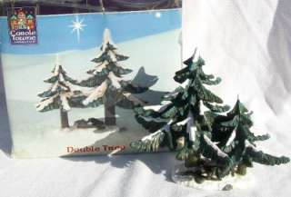 2001 CaroleTowne DOUBLE TREE Lemax Christmas Figurines Trees