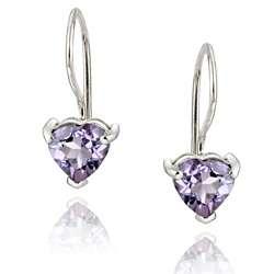 Glitzy Rocks Sterling Silver Heart shaped Amethyst Earrings