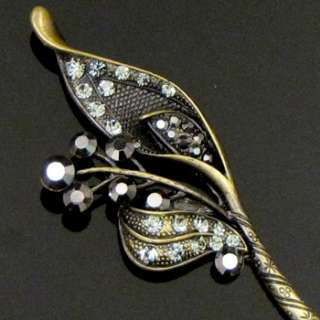 1pc rhinestone crystal Antiqued flower hair stick