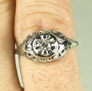 Deco 14k White Gold Filigree .20ctw G VS1 European Cut Diamond
