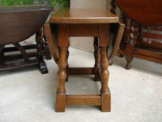 Petite Antique English Oak Drop Leaf End Tea Table