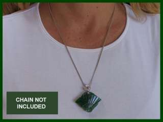 LARGE JADE & DIAMOND FAN PENDANT/LOCKET (14K WHITE GOLD)