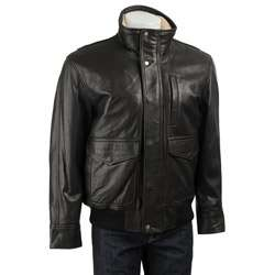 Marc New York Mens Raider Leather Bomber Jacket