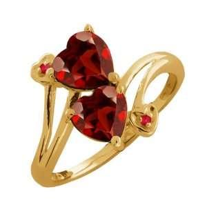 1.82 Ct Genuine Heart Shape Red Garnet Gemstone 10k Yellow
