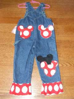 Custom OOAK Boutique Resell Disney Minnie Mouse Denim Overalls Sz 3T