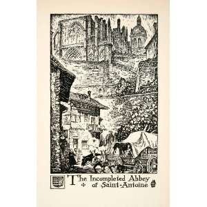 1927 Lithograph Abbey Saint Antoine France Cityscape Church Cart
