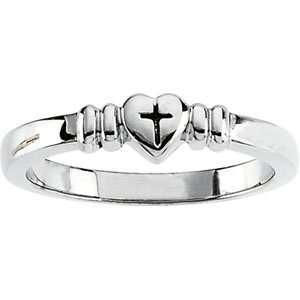 Size 05.00 14K White Gold Heart W/Cross Ring Jewelry