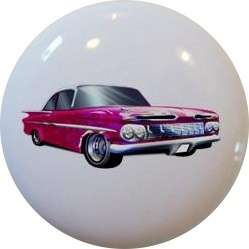Hot Rod CAR Pink Flames CABINET Drawer Pull KNOB