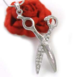 Silver Tone Hair Stylist Scissors Pendant Necklace n265
