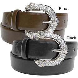 Adi Womens Rhinestone Accent Leather Belt