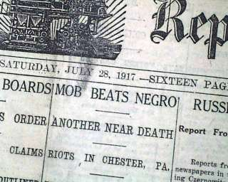 CHESTER PA Race Riots NEGROES Lynch Mobs Thousands 1917 Newspaper
