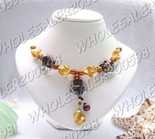 9strands Focal Handwork Glass&Crystal Beads Necklaces
