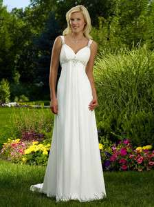 New White Ivory Straps Chiffon Wedding Dresses In Stock Size 6 8 10 12