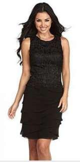Jones New York Black Lace Tiered Chiffon Cocktail Dress 6 $168