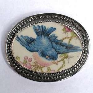 Broken China Jewelry Blue Bird Bluebird Sterling Pin 28