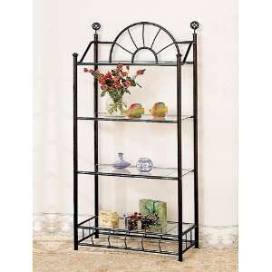 Tier Traditional Sunburst Metal Display Rack With Four Glass Display