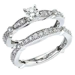 14kt White Gold Antigue Diamond Ring 1ct TW Bridal Set Jewelry