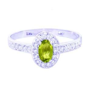 Gold Petite Oval Gemstone and Diamond Engagement Ring Peridot, size6.5