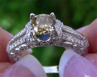 Estate 1.67 ct Natural SI1 Fancy Yellow Diamond Engagement Wedding