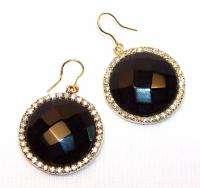 NWT $125 Sheila Fajl 18k Gold Plated Onyx CZ Dangle Earrings