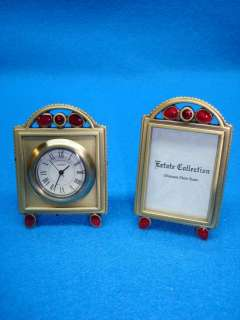 ELEGANT 2 PC.SET MINATURE CLOCK & PHOTO FRAME   LINDEN W/RED BEAD