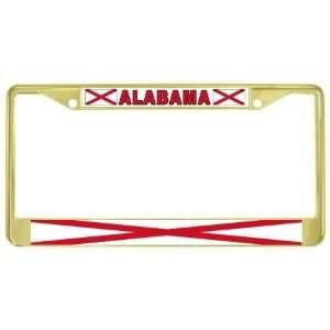 Alabama Al State Flag Gold Tone Metal License Plate Frame