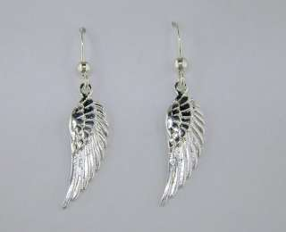 Angel Wing Dangle Earrings Tarnish Free Sterling Silver