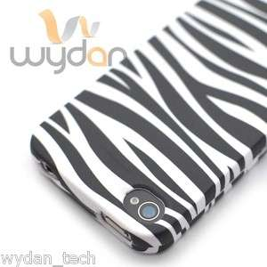 Black White Zebra Print Snap On Hard iPhone 4S Case Cover w/ Screen