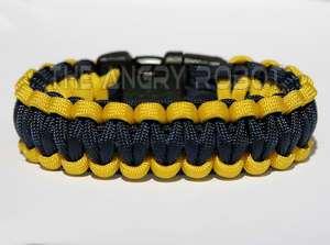 550 Paracord Survival Bracelet   Yellow & Navy Blue