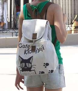 Ladys Girls cafe Cat Canvas backpack handbag shoulder bag H33
