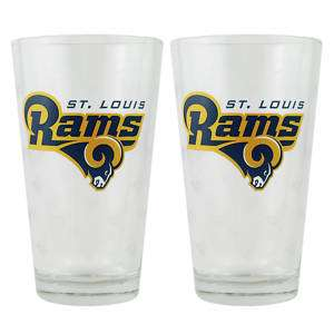 ST LOUIS RAMS NFL 2 Pint Glass Set BRAND NEW